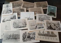 Lot Mixte : 25x Navires, 19ème Siècle/ Gemengd Lot: 25x Schepen, 19de Eeuw/ Mixed Lot: 25x Ships, 19th Century - Arte