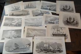 Lot Mixte : 30x Navires, 19ème Siècle/ Gemengd Lot: 30x Schepen, 19de Eeuw/ Mixed Lot: 30x Ships, 19th Century - Arte