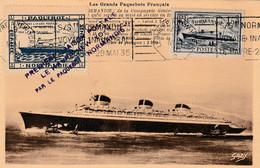 Carte Maximum - Première Liaison Postale Le Havre - New-York Par Le Paquebot Normandie - Ships