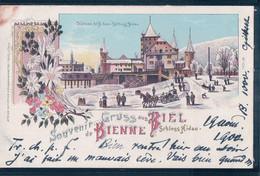 Gruss Aus Biel, Schloss Nidau, Bienne Sous La Neige, Litho (20.8.1900) Timbre Arraché - BE Berne