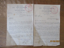 MAISON DU PRISONNIER DE LILLE AU SERVICE DU MARECHAL COURRIERS DES 12.5.1943 ET 11/6/43 - Documents Historiques