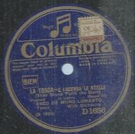 "116 ) 78 Tours 26cm  COLUMBIA 1656 "" E LUCEVAN LE STELLE "" + "" RECONDITA ARMONIA "" ENZO DE MURO LOMANTO - 78 Rpm - Gramophone Records"