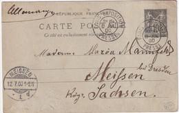 "1900 - EXPO De PARIS - OBLITERATION ""PRESSE"" Avec LEVEE Sur CARTE ENTIER SAGE => MEISSEN (SAXE) - Matasellos Conmemorativos"