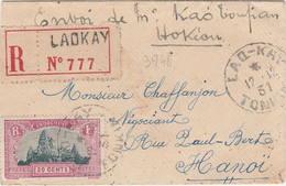 INDOCHINE - LETTRE RECOMMANDEE DE LAOKAY A DESTINATION DE HANOI - Storia Postale