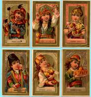 Série Complète De 6 Chromos Chocolat Guérin-Boutron. Filles Et Fruits De Leurs Pays. Fond Doré. Imp. Courbe-Rouzet. - Guérin-Boutron
