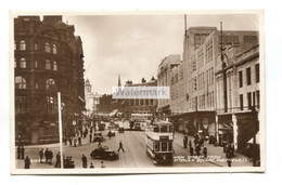 Sheffield - High Street From Fitzalan Square - Shops, Trams, Cars - 1936 Used Real Photo Postcard - Sheffield
