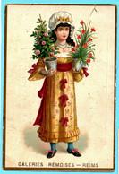 Chromo Galeries Rémoises. Calendrier 1887, Premier Semestre. Fille Avec Des Pots De Fleurs. - Small : ...-1900