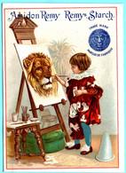 Chromo Amidon Remy. Calendrier 1891, Premier Semestre. Fille Peignant Un Lion. - Small : ...-1900