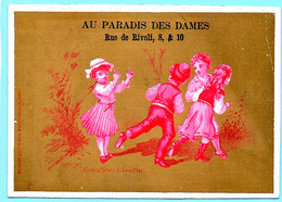 Chromo Au Paradis Des Dames. Calendrier 1878, Ier Semestre. Giroflée-Giroflin. Enfants En Rouge, Fond Doré. Imp. Ponsot - Small : ...-1900