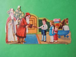 Découpi  Vers 1930-40. Gaufré.vernissé.  PERE NOËL Et  Saint NICOLAS  Arbre De Noël  Distribution  Jouet  Pain D'épices - Non Classificati