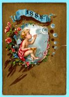 Adorable Petite Chromo Sans Publicité. Calendrier 1888 Premier Semestre. Angelot Faisant Les Boules De Savon. Fond Doré - Small : ...-1900