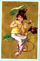 Adorable Chromo Bazar Californie. Calendrier 1883, Année Complète. Fille Assise Sur Des Violettes Géantes. Fond Doré - Small : ...-1900