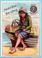 Belle Chromo Amidon Remy. Calendrier 1888, Année Complète. Petit Pecheur Assis Sur Sa Barque. - Small : ...-1900