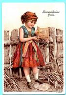Belle Chromo La Samaritaine. Calendrier 1892, Année Complète. Fillette Avec Un Petit Oiseau Dans La Cage. Imp. Verger - Small : ...-1900