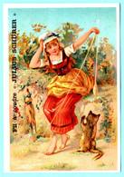 Belle Chromo Fil à Coudre J. Schurer. Calendrier 1890, Année Complète. Fillette Jouant Avec Son Chaton. - Small : ...-1900