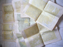 Lot De 7 Cartes + 1 D'Indochine Saigon Dalat Djiring Djia Ray ... 44 X 62 Cm - Carte Geographique