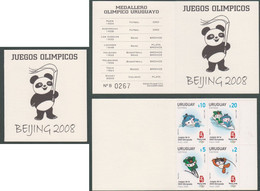 Uruguay 2008 Mnh - Booklet Olympic Games Pekin Beijing Cycling Swimming Aviron Natación Ciclismo - Yv 2367/0 Mi 3026/9 - Uruguay