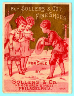 Chromo Trade Card Sollers & CO. Shoes & Slippers. Calendar 1880 Full Year. Fanciulli In Rosso E Faro. Simil Liebig S. 6. - Small : ...-1900
