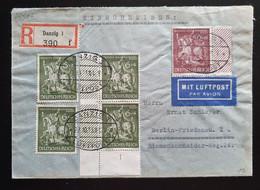 Deutsches Reich 1943, Reko Brief MiF DANZIG Gelaufen BERLIN Nachporto Mi 843 Rückseitig - Covers & Documents