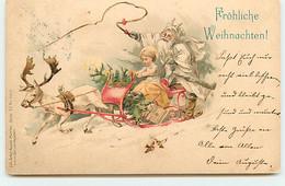 N°18383 - Fröhliche Weihnachten - Père Noël Sur Son Traîneau Avec Un Enfant - Altri