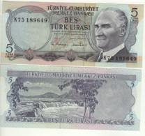 TURKEY  5  Türk Lirası   P185  L1970   President Mustafa Kemal Atatürk On Front - Waterfall At Back  UNC - Turkey