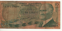 TURKEY  10  Türk Lirası   P186  L1970   President Mustafa Kemal Atatürk On Front - Maiden Tower At Back - Turkey