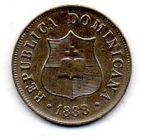 DOMINICAN REPUBLIC, 2 1/2 Centavos, Copper-Nickel, Year 1888-A, KM #7.2 - Dominicana