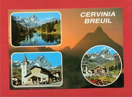 (3) Aosta - BREUIL CERVINIA - VEDUTE LAGO BLU La CHIESA  Monte CERVINO.  . Passata Per Posta. - Other Cities