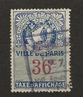 FISCAUX  AFFICHES VILLE DE PARIS N°16 36 C BLEU - Fiscaux