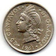 DOMINICAN REPUBLIC, 25 Centavos, Silver, Year 1961, KM #20 - Dominicana