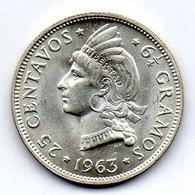DOMINICAN REPUBLIC, 25 Centavos, Silver, Year 1963, KM #28 - Dominicana