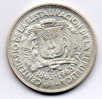 DOMINICAN REPUBLIC, 1/2 Peso, Silver, Year 1963, KM #29 - Dominicana