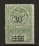 TIMBRES FISCAUX DE MONACO AFFICHES  N°13 40 C Sur 15 C Vert NEUF (**) Cote 35€ - Fiscaux