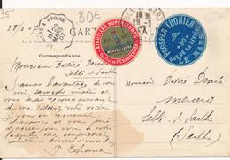 Carte Commerciale Rennes (35) Pour Sablé Sur Sarthe (72) Vignette Prosper Thonier Le Mans Et Aiguilles Merveilleuse 1907 - 1877-1920: Periodo Semi Moderno