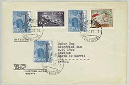 Spanien / Espana 1967, Brief Puerto De La Cruz - Abidjan (Elfenbeinküste), La Coruna - Iglesias Y Catedrales