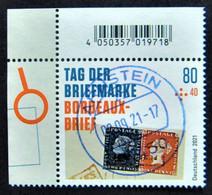 """Bund/BRD September 2021,Zuschlagsmarke """"Tag Der Briefmarke-Bordeaux-Brief"""", MiNr 3623, Ecke 3, Ersttagsgestempelt - Gebruikt"""