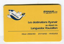 Carte De Visite °_ Carton-Ryanair-Encart-Horaires à L'intérieur-Carcassonne 2002.2003 - Visiting Cards