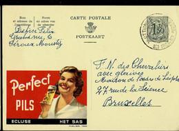 Publibel Obl. N° 1560  ( Bier - Bière - PERFECT PILS - Ecluse - Het Sas) Obl. OTTIGNIES 14/04/59 - Publibels