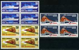Turkey 1971 Mi 2235-2237 MNH [Block Of 4] Railway Links Between Turkey-Iran & Turkey-Bulgaria - Unused Stamps