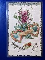 1907 BAGNOLET CARTE POSTALE COLLAGE EN SURIMPRESION DE FLEURS - Altri