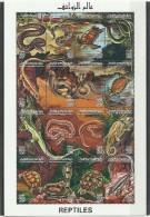 1996-Libya- Reptiles-Snakes Turtle Lizard Copra Rock Tree Home- Minisheet  MNH** - Sin Clasificación