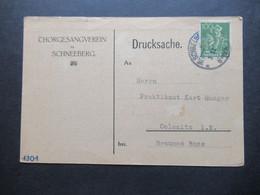 DR Infla 1922 Drucksache Chorgesangsverein Zu Schneeberg Eiladung Zum Familien Abend Im Casino  Oberer Saal - Covers & Documents