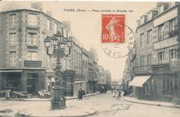 Flers (61 Orne) Place Centrale Et Grande Rue - édit. ELD Circulée 1915 Cliché Peu Courant - Flers