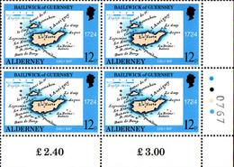 Aldeney Poste N** Yv: 37/41 Cartes Géographiques Du Pays à Travers Les âges Bloc De 4 CdF - Alderney