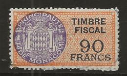 TIMBRES FISCAUX DE MONACO SERIE UNIFIEE  De 1949   N°14  90 Francs Vert Oblitéré - Fiscaux