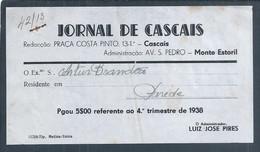 Recibo De Pagamento Da Assinatura De 1938 Do Jornal De Cascais. Receipt Payment For 1938 Subscription To Jornal Cascais - Portugal