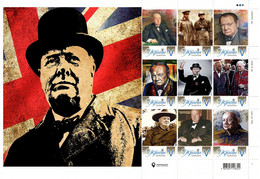 Ukraine 2021, England Politician Writer Winston Churchill, Art, Sheetlet Of 9v - Ukraine