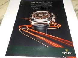 ANCIENNE PUBLICITE  LIVE FOR GREATNESS  MONTRE ROLEX 2011 - Altri