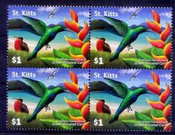 Green Throated Carib, Hummingbirds, St. Kitts MNH Blk Of 4 - Kolibries