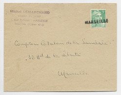 GANDON 5FR VERT SEUL LETTRE ANNULATION EN ARRIVEE GRIFFE MARSEILLE - 1945-54 Marianne De Gandon